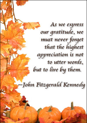 Statement about Thanksgiving by JFK